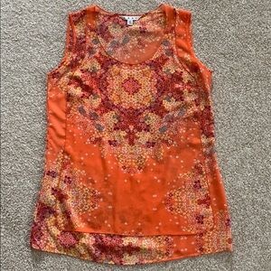 CAbi Orange Sleeveless Blouse, XS